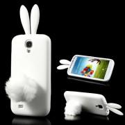 Силиконов калъф със заешки уши и опашка за Samsung Galaxy S4 - бял