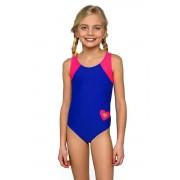 Eliza lányka egyrészes fürdőruha, kékes-rózsaszín 152