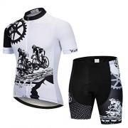 JPOJPO Camisetas de Ciclismo para Hombre, Manga Corta, con Cierre, Bolsillos para Chamarra de Bicicleta, Blanco-1, S(Chest Within 38 Inch)