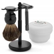 Trendhim Kit de rasage noir pour débutants avec blaireau en poils Pure Badger