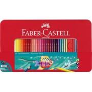 Creioane colorate Acuarela 60 culori si accesorii cutie metal Faber-Castell