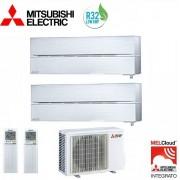 Mitsubishi Climatizzatore Condizionatore Mitsubishi Electric Dual Split Inverter Msz-Ln Kirigamine Style Bianco Perla R-32 12000+12000 Con Mxz-2f53vf Wi-Fi New 12+12
