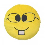 Soft Smiley Emoticon Yellow Round Cushion Pillow Stuffed Plush Toy Doll (Nerd)