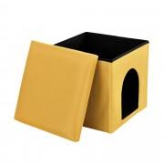 [en.casa]® Skládací taburet - s úložným prostorem / pelíškem - hořčicově žlutý