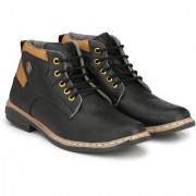 BUCIK Men's BLACK Synthetics Leather Lace Up Boots