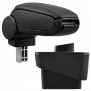 [pro.tec] Reposabrazos central para Audi A1 (8X, a partir de 2010) - apoyabrazos con compartimento - tapizado - polipiel - negro con costuras de color negro