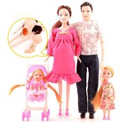 Doll Family of 5 People Baby Dolls Toy with Real Pregnant 1 Brown Hair Mom 1 Dad 2 Little Girls 1 Baby Son 1 Baby Carriage for Educaion by Elatany