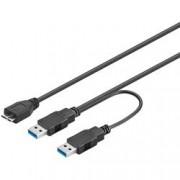 Goobay Cavo USB 3.0 SuperSpeed ad Y 2x A M / Micro B M 0,6 m Nero