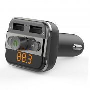 Transmissor FM Bluetooth e Carregador de Isqueiro USB Duplo BT20 - Cinzento