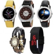 Combo of 2 Graphic Analog Wrist Watches Brown Strap Watch Black Vintage Watch And Black Digital Led Watch