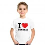Shoppartners Wit I love honkbal t-shirt kinderen