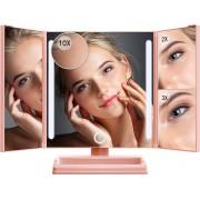 Omliox Make Up Spiegel met LED verlichting - Stijlvolle Inklapbare Spiegel - Dimbare Verlichting met Touch Knop - 2x en 3x vergroting - Inclusief USB Kabel - Roségoud