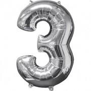 Balon folie cifra 3 argintiu 43 x 66cm