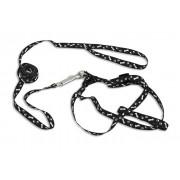 Ham reglabil + lesa pentru caini sau animale de companie de talie mica, culoare Negru, lungime lesa 120cm