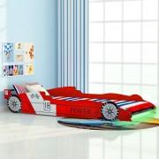 """Sonata Детско легло """"състезателна кола"""", LED лента, 90x200 cм, червено"""