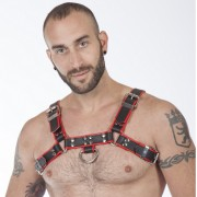 MisterB Genuine Leather BDSM Top Harness Black-Red