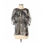 Express Short Sleeve Blouse: Black Animal Print Tops - Size X-Small