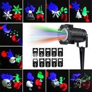 kwb outdoor kerst projector lichten multicolor roterende led licht projectie waterdicht sneeuwvlok spotlight-10pcs patroon