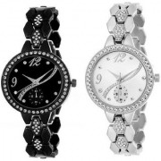 TRUE CHOICE NEW 2 FULL BLACK N SILVER COLOUR WATCHES FOR WOMEN WITH 6 MONTH WARRANTY