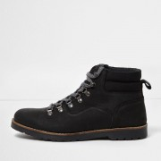 River Island Mens Black leather lace-up work boots
