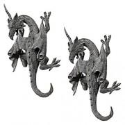 Design Toscano Escultura de Pared, diseño de dragón de Devonshire, Set de 2, Juego de 2, 1