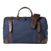 Barber Shop Quiff Doctor Bag Blue Canvas & Dark Brown Leather