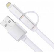 Cablu de date Remax 2 in 1 usb pentru Lightning iphone/ipad si micro usb 1m Argintiu
