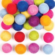 Coloured Felt Balls - 50 Balls in 10 assorted colours. Handmade from 100% lambswool. Ball size 2cm-2.5cm diameter