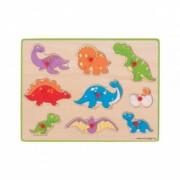 Puzzle incastru din lemn pentru copii - Dinozauri 9 Piese