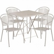 Flash Furniture 28Inch Square Metal Folding Patio Table Set with 4 Round Back Chairs - Light Gray, Model CO28SQF03CHR4SV