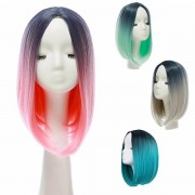 14' Heat Resistant Synthetic Gradient Color Cheap Hair Wig Ombre Medium Long Straight Silk Lace