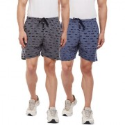 Vimal-Jonney Ripped Look Black And Navy Blue Shorts For Men(Pack Of 2)