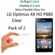 Digimate Nano Clear 0.2 mm Screen Guard Protector Flexible Glass for LG Optimus 4X HD P880 (Pack of 2)