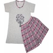Pijamale dama maneca scurta si pantaloni scurti imprimeu fluturasi roz