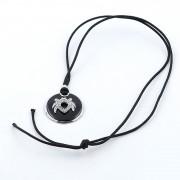 Lant Din Material Textil Cu Lungime Reglabila Si Pandantiv Din Argint 925 Decorat Cu Email Negru Si Zircon Alb
