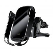 Baseus rock Smart Jármű Konzol vezeték nélküli töltő Elektromos Auto Lock autós tartó Phone Bracket Air Vent Holder Qi töltő 10W infravörös érzékelő ezüst (WXHW01 - 01) tok telefon tok hátlap