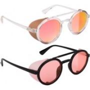 NuVew Round, Shield Sunglasses(Orange, Red, Golden)