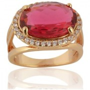 Sanaa Creations Gold Plated Pink Diamond Ring For Girl's And Women New Year Special offer for Womens and Girls