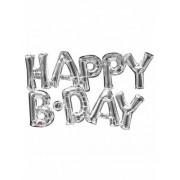 Vegaoo Aluminium-Ballon Happy Birthday silber 78 cm