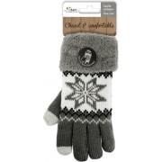 Touchscreen gebreide winter handschoenen Nordic/grijs voor dames - Smartphone handschoenen