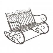 Метална градинска люлееща се пейка за двама [casa.pro] стил Vintage 85 x 113 cm, до 200 kg, Зелена