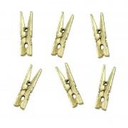 Geen 10x Metallic gouden mini knijpertjes decoratie materiaal