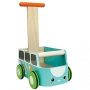 Drewniany chodzik, pchacz niebieski van walker - jeździk w kształcie samochodu, Plan Toys