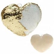 Geen Woondecoratie hartjes kussens goud/creme metallic met pailletten 40 cm