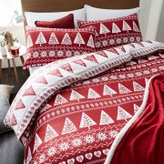 Catherine Lansfield Nordic Trees Duvet Set - Red - Double - Red