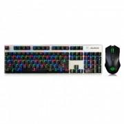 AJAZZ eje negro portatil a todo color RGB con retroiluminacion 104 teclas mecanicas USB teclado de juego con cable con kit de raton