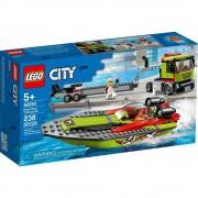 Lego set de construcción lego city transporte del barco de carreras 60254