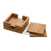 Set 4 bucati suport pahare din bambus, in cutiuta de lemn, Everestus, SPI17, natur, laveta inclusa