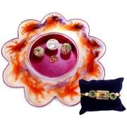 Unique Arts Multicolour Flower shaped Stainwood Pooja Thali with Rakhi
