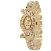 LEBENSZEIT American Diamond Oval Studded Wrist Bracelet Cum Quartz Watch - Women